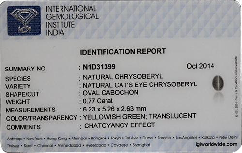 Chrysoberyl Cat's Eye - 0.77 carats