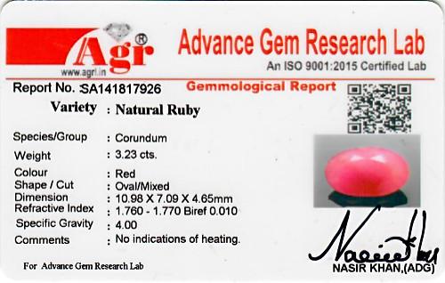 Ruby - 3.23 carats