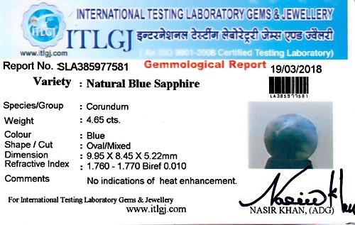 Blue Sapphire - 4.65 carats