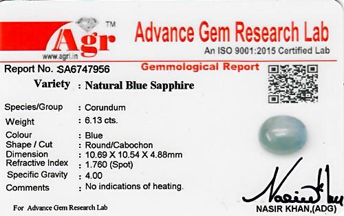 Blue Sapphire - 6.13 carats