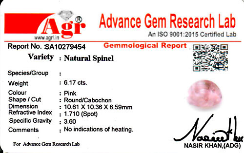 Pink Spinel - 6.17 carats