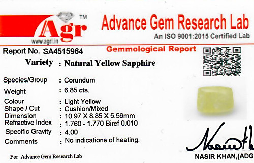 Yellow Sapphire - 6.85 carats