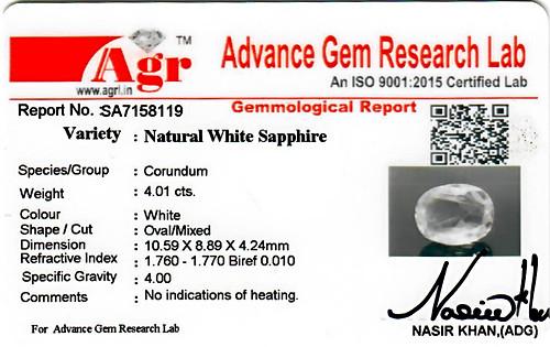 White Sapphire - 4.01 carats