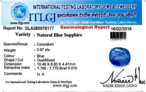 Blue Sapphire (Heated) - 3.97 carats