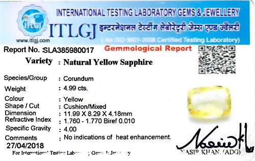 Yellow Sapphire - 4.99 carats