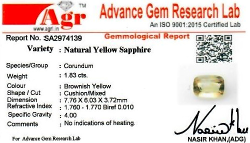Yellow Sapphire - 1.83 carats