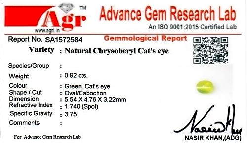 Chrysoberyl Cat's Eye - 0.92 carats