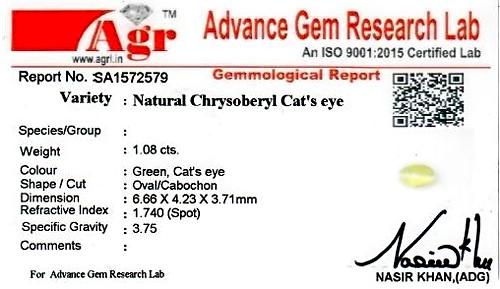 Chrysoberyl Cat's Eye - 1.08 carats