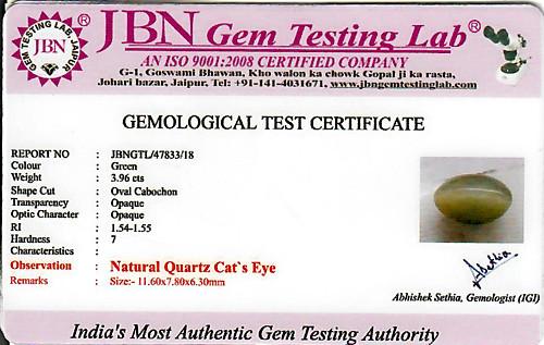 Quartz Cat's Eye - 3.96 carats