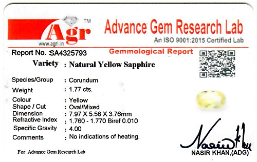Yellow Sapphire - 1.77 carats