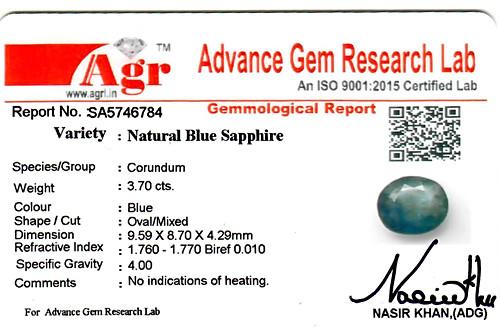Blue Sapphire - 3.70 carats