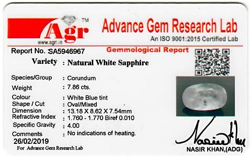 White Sapphire - 7.86 carats