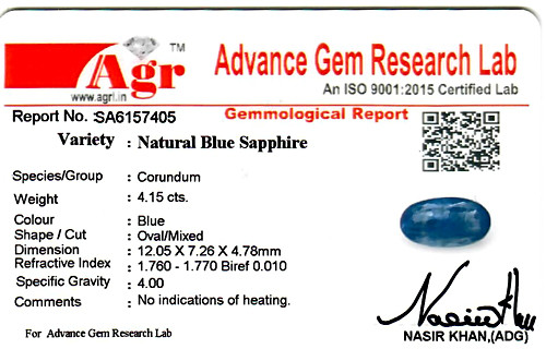 Blue Sapphire - 4.15 carats
