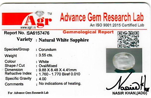 White Sapphire - 3.55 carats
