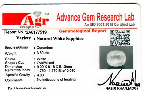 White Sapphire - 3.80 carats