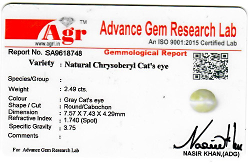 Cats Eye Chrysoberyl - 2.49 carats