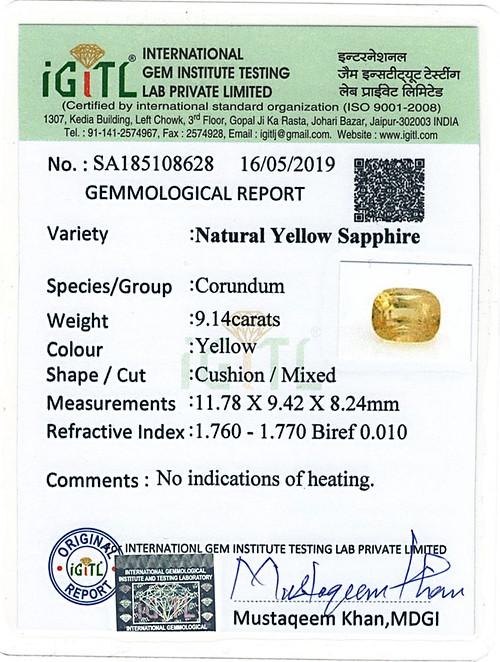 Yellow Sapphire - 9.14 carats