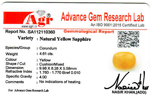 Yellow Sapphire - 4.61 carats
