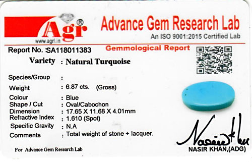 Turquoise - 6.87 carats