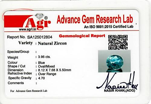 Blue Zircon - 3.96 carats