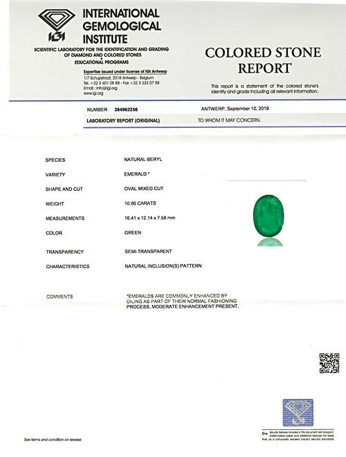 Emerald - 10.86 carats