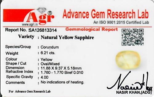 Yellow Sapphire - 6.21 carats