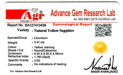Yellow Sapphire - 3.41 carats