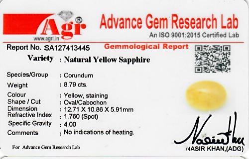 Yellow Sapphire - 8.79 carats