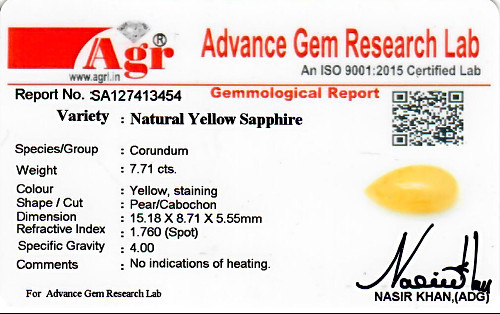 Yellow Sapphire - 7.71 carats