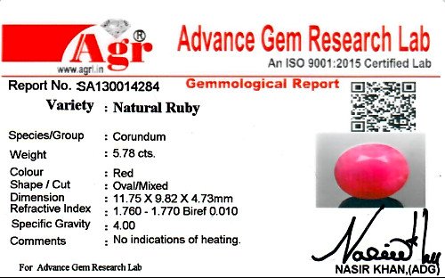 Ruby - 5.78 carats