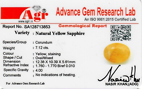 Yellow Sapphire - 7.12 carats