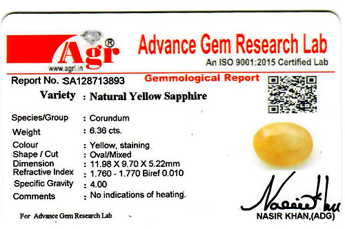 Yellow Sapphire - 6.36 carats