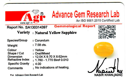 Yellow Sapphire - 7.58 carats