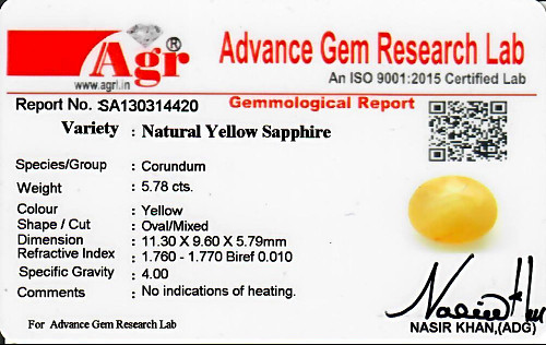Yellow Sapphire - 5.78 carats
