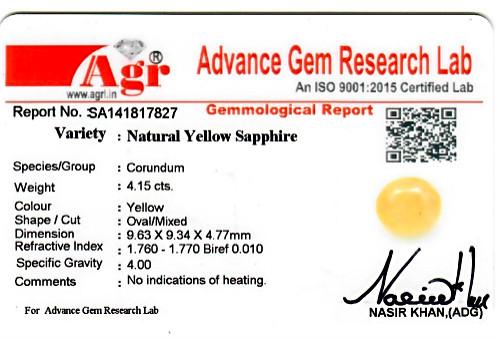 Yellow Sapphire - 4.15 carats