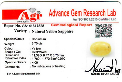 Yellow Sapphire - 3.75 carats