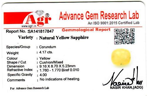 Yellow Sapphire - 4.17 carats