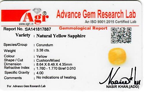 Yellow Sapphire - 3.38 carats
