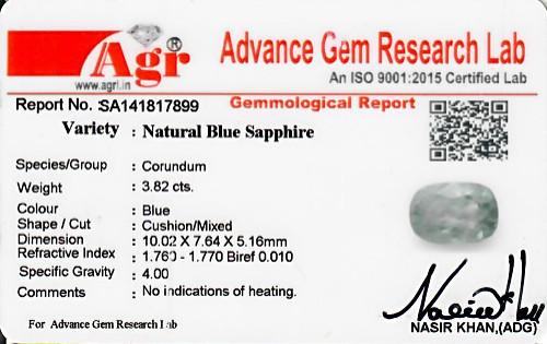 Blue Sapphire - 3.82 carats