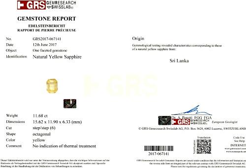 Yellow Sapphire - 11.68 carats
