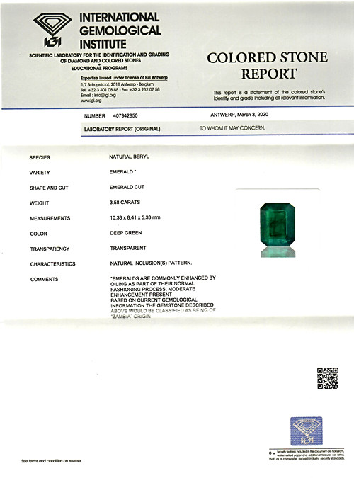 Deep Green Emerald - 3.58 carats