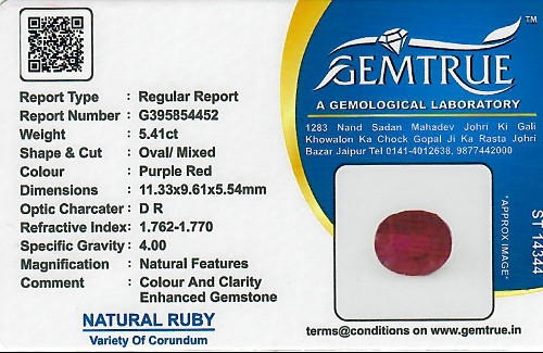 Ruby - 5.41 carats