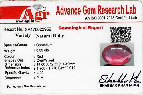 Ruby - 8.59 carats