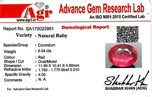 Ruby - 6.04 carats