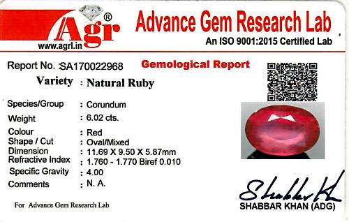 Ruby - 6.02 carats