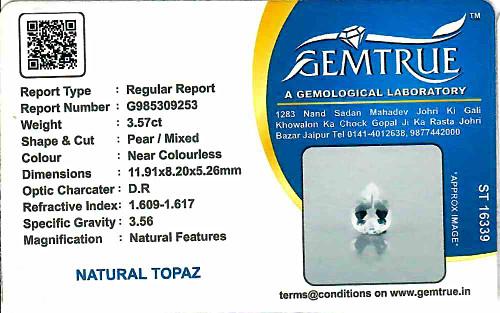 White Topaz - 3.57 carats