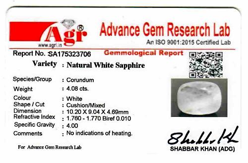 White Sapphire - 4.08 carats