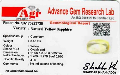 Yellow Sapphire - 3.48 carats