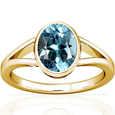Blue Topaz Gold Ring (A2)