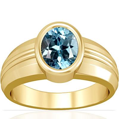 Blue Topaz Gold Ring (A4)